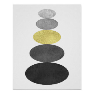 Gold and black zen pebble art print Modern minimal