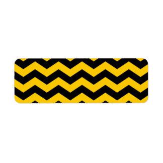 Gold and Black Zigzag Return Address Label