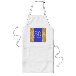 "Gold and Blue ""50 & Fabulous"" 50th Birthday Long Apron"