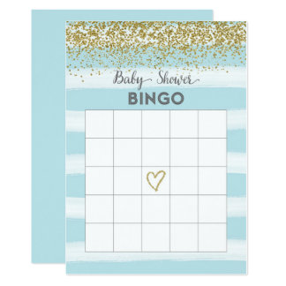Gold and Blue Baby Shower Bingo Card