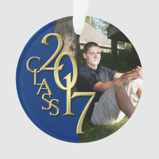 Gold and Blue Class of 2017 GraduationPhoto Ornament