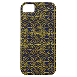 Gold And Blue Connected Ovals Celtic Pattern iPhone 5 Case