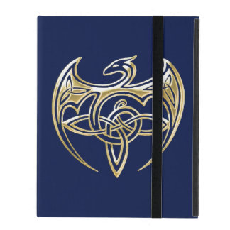 Gold And Blue Dragon Trine Celtic Knots Art Cases For iPad