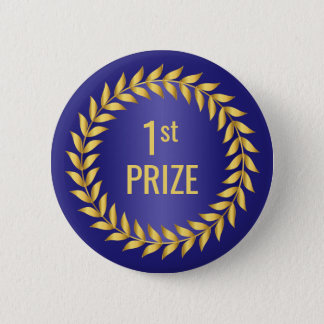 Gold and Blue First Prize 2 Inch Round Button