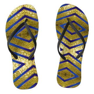 Gold and Blue Flip Flops
