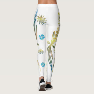 Gold and blue flower leggings