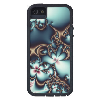 Gold and Blue Fractal Flowers Case For The iPhone 5