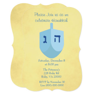 Gold and Blue Hanukkah Party Card