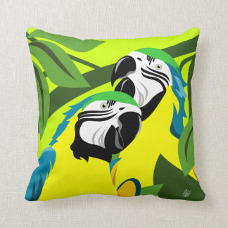 Gold And Blue Macaws Throw Pillow