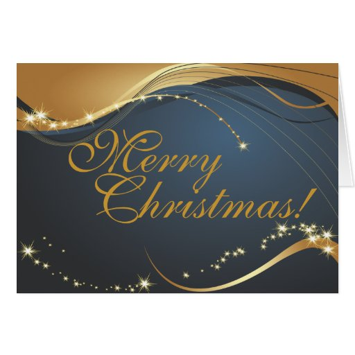 Gold and blue merry christmas card zazzle for Blue and gold christmas