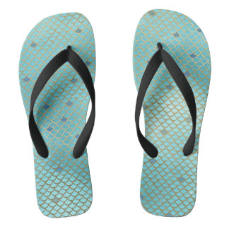 Gold and Blue Ombre Mermaid Scales Flip Flops