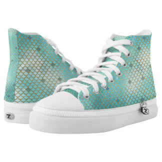 Gold and Blue Ombre Mermaid Scales High Tops