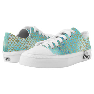 Gold and Blue Ombre Mermaid Scales Low-Top Sneakers