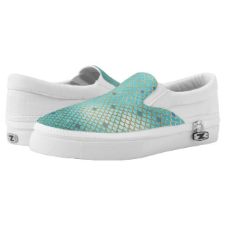 Gold and Blue Ombre Mermaid Scales Slip-On Sneakers