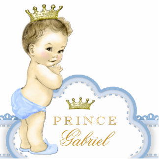 Gold and Blue Prince Baby Shower Standing Photo Sculpture