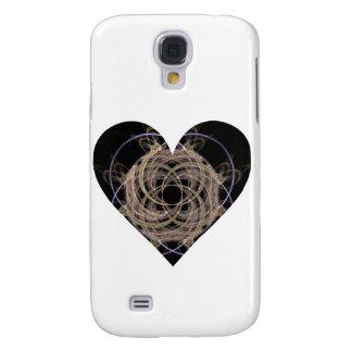 Gold and Blue Spiral Fractal Art Heart Design