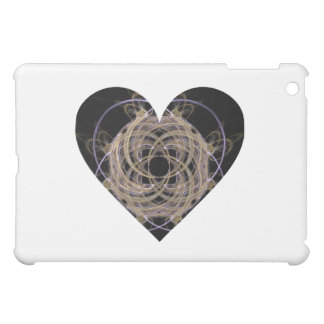 Gold and Blue Spiral Fractal Art Heart Design iPad Mini Cases