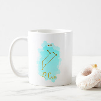 Gold and Blue Watercolor Horoscope Zodiac Leo Coffee Mug