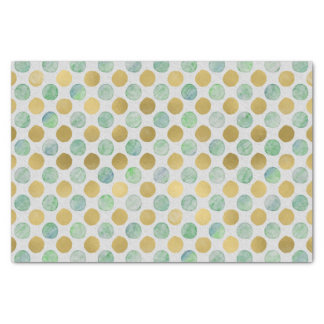 Gold and Blue Watercolor Polka Dots Tissue Paper