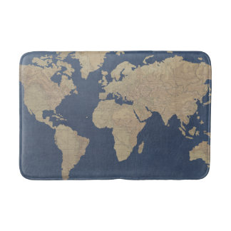 Gold and Blue World Map Bathroom Mat