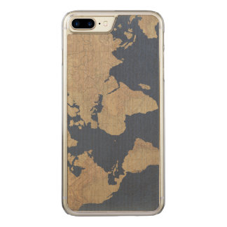 Gold and Blue World Map Carved iPhone 8 Plus/7 Plus Case