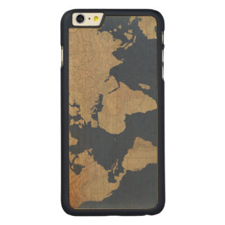 Gold and Blue World Map Carved Maple iPhone 6 Plus Case