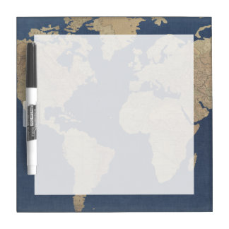 Gold and Blue World Map Dry-Erase Boards