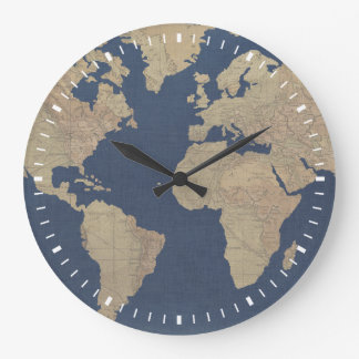 Gold and Blue World Map Large Clock