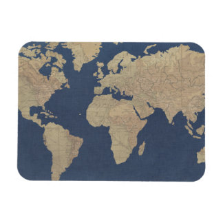 Gold and Blue World Map Magnet