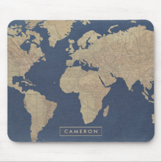 Gold and Blue World Map Mouse Pad