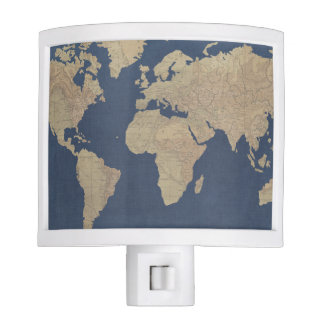 Gold and Blue World Map Night Lites