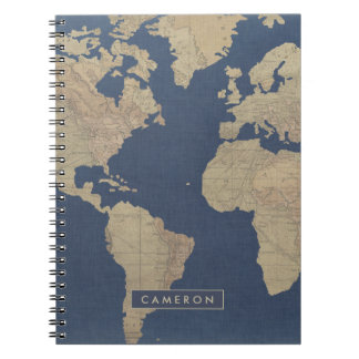 Gold and Blue World Map Notebooks