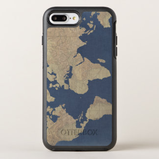 Gold and Blue World Map OtterBox Symmetry iPhone 7 Plus Case