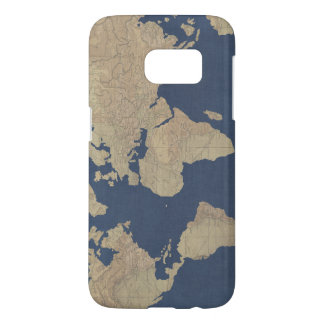 Gold and Blue World Map Samsung Galaxy S7 Case