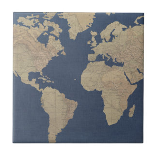 Gold and Blue World Map Tile