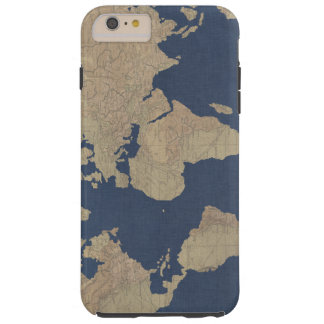Gold and Blue World Map Tough iPhone 6 Plus Case