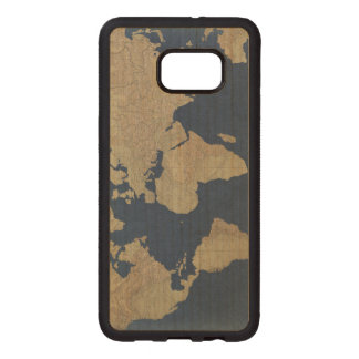 Gold and Blue World Map Wood Samsung Galaxy S6 Edge Case
