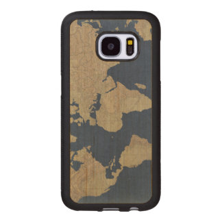 Gold and Blue World Map Wood Samsung Galaxy S7 Case
