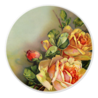 Gold and Blush Vintage Roses Ceramic Knob