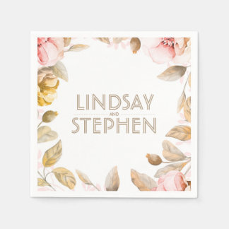 Gold and Blush Watercolor Flowers Vintage Wedding Disposable Napkin
