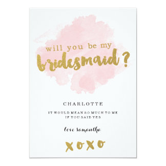 "Gold and Blush Will You Be My Bridesmaid? 5"" X 7"" Invitation Card"