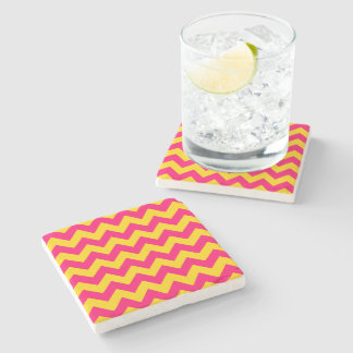 Gold and Bright Pink Zigzag Stone Coaster