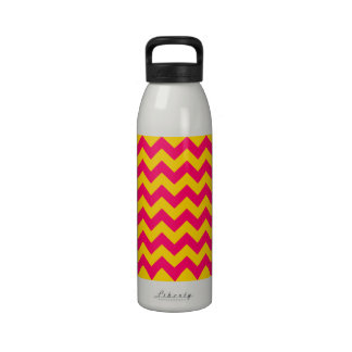 Gold and Bright Pink Zigzag Reusable Water Bottles