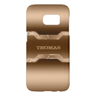 Gold And Brown Brushed Metal Look Samsung Galaxy S7 Case