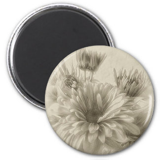 Gold and Brown Chrysanthemums 1 Antiqued Magnet