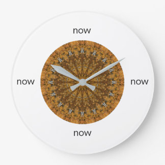"Gold and Brown Mandala ""Now"" Large Clock"