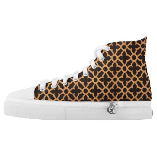 Gold and brown pattern on high tops