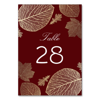 Gold and Burgundy Fall Leaves Wedding Table Cards