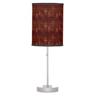 Gold and Burgundy Grungy Lines and Splashes Table Lamp