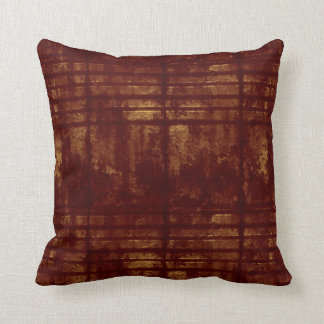 Gold and Burgundy Grungy Lines and Splashes Throw Pillow